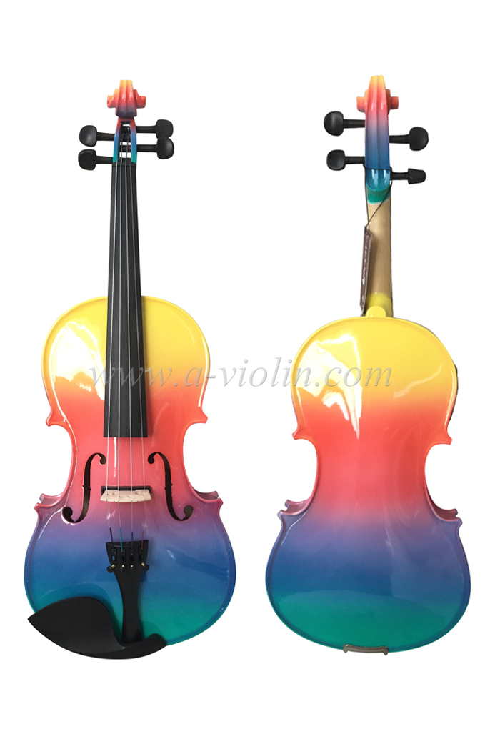 Rainbow Colored All Solid Violin With Case Vg105 Rb