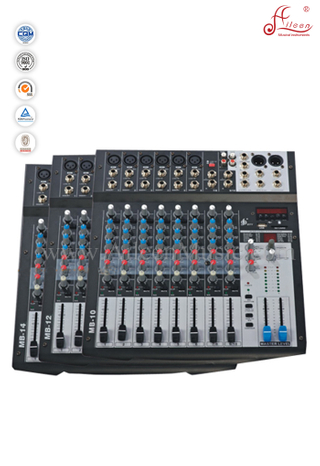 Hot Sale 3-band EQ CLIP LED 10 Channles Mixer Professional Mixing Console (AMS-B10EFF)