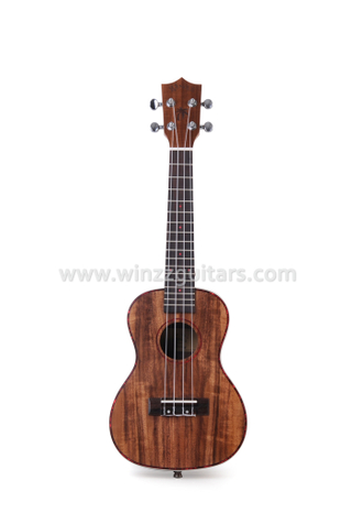Solid koa top high density man-made wood fingerboard beautiful celluloid inlaid ukulele (AU50)