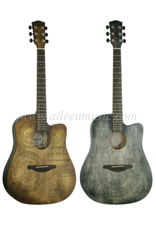 New Product 41 Inch All Linden Plywood Top Cutaway Acoustic Guitar (AF-HE00LC-41)