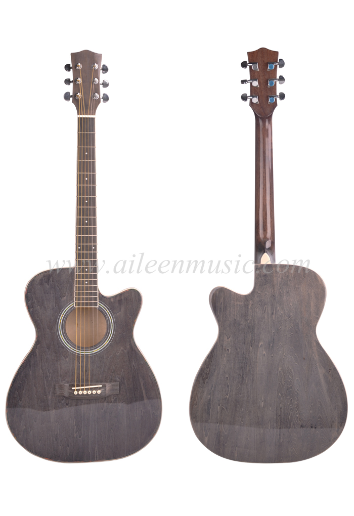Full Size Hand Rubbed Process Round And Cutaway Body Acoustic Guitar (AF-GH00L)