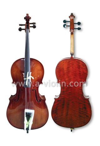 Ebony Fitted All Solidwood Flamed Cello With Bag (CM140)